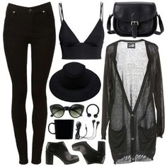 All black. Jeans, crop and sheer top. Rock chick look.