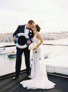 Anchors away! ⚓️ Gown: Cinzia Photo by: Yacht Wedding, Nautical Wedding, Wedding Tags, Wedding Bells, Wedding Ideas, Wedding Decorations, Just Married, Getting Married, California Wedding Venues