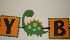 Happy Birthday green and Orange Dinosaur banner by scraptags, $10.99