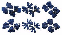 Navy blue school hair bows for girls on alligator clips, school hair accessories Navy Blue Hair, Blue Hair Bows, Girl Hair Bows, Girls Bows, School Hair Bows, Girls Hair Accessories, Hairstyles For School, Grosgrain Ribbon, Etsy Shop