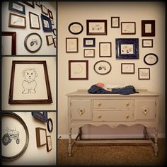 Love this idea with the vintage frames and antique changing table/dresser. =)