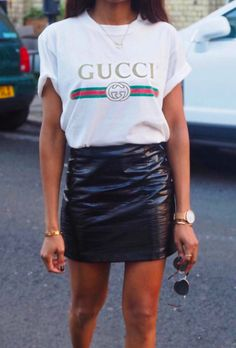 cf168333 gucci tee + leather mini Gucci Tee, Gucci Shirts, Black Gucci Shirt, Gucci