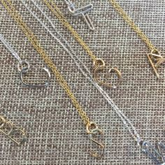 These modern initial pendants are perfect, personal gifts or a holiday treat for you! Lovely as a single monogram or wearable in multiples (think: initials of your kids)!