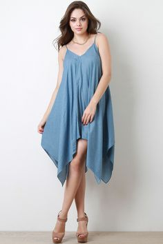 Chambray Spaghetti Strap Handkerchief Hem Dress