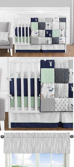 Baby Nursery: Sweet Jojo Navy Mint Gray Deer 9Pc Newborn Baby Boy Crib Bedding Set Collection BUY IT NOW ONLY: $169.99