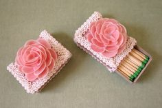 Pink Damask Covered Match Box Topped With Miniature by OceanPetal, $8.00