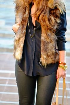 Cute And Fluffy Vest With Black Chiffon Blouse