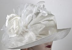 White Parasisal Straw Womens Hat Downton by MakowskyMillinery