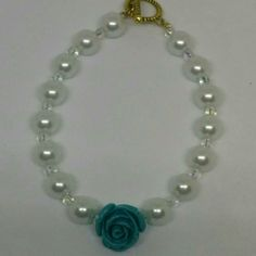 White Glass Pearl Bracelet with Flower Bead