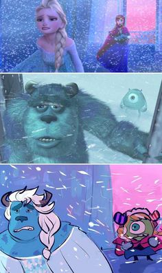 Disney crossover-frozen and monsters inc Disney Pixar, Disney Amor, Film Disney, Art Disney, Disney And Dreamworks, Disney Magic, Disney Movies, Disney Characters, Disney Crossovers
