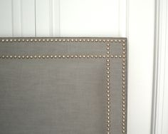 Rectangle Shaped   Full Size   Linen Blend Fabric   Double Row Hammered Nickel Nailhead (Grid Corner Pattern)