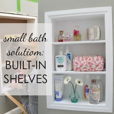 Small Bathroom Solution: Built-In Shelves Between the Studs - Every bathroom is deserving of built-in shelves, but especially itty bitty bathrooms that are in ne - Small Bathroom Shelves, Bathroom Storage, Ikea Shelf Brackets, California King Bed Frame, Diy Sofa Table, Tub Shower Combo, Built In Shelves, Diy Bed, Bathing