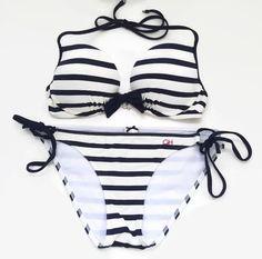 Gilly Hicks Sz M 2 Pieces Bikini Swimsuit Striped Navy Off White Push Up | eBay