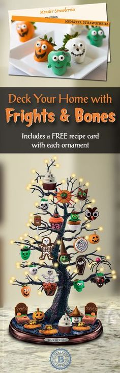 Your trick-or-treat just got a whole lot more terrifyingly tasty! This unique pre-lit Halloween tree collection stands nearly 1-1/2 feet tall and glows with a ghostly 50 golden lights. Each new issue delivers a set of 3 distinctive trick-or-treat ornaments and includes a free 3x5 recipe card so you can make the edible treats that inspire each ornament.