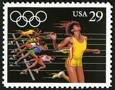 This stamp from the 1992 Summer Olympics Issue features women sprinters giving it their all.