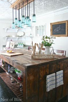 light fixture and fabulous kitchen island