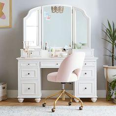 Teen Vanity, White Vanity Desk, Bedroom Vanity Set, Vanity Area, Vanity Set With Mirror, Master Bathroom, Teen Desk, Desk Storage, Smart Storage
