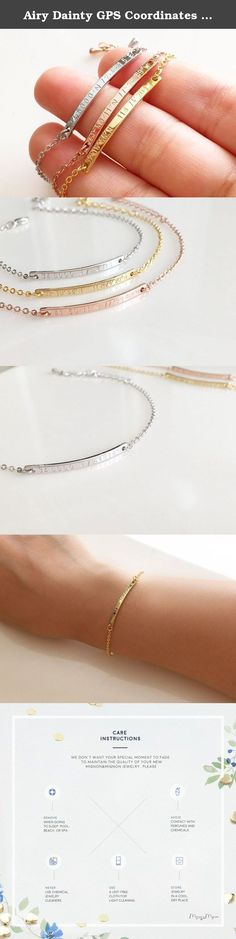Airy Dainty GPS Coordinates Bracelet, Gold Bar, Silver Bar, Rose Gold Bracelet, Coordinates Bracelet, Bridesmaid Gift, Christmas Gift (Rose Gold-Plated). Airy Dainty GPS Coordinates Bracelet, Gold Bar, Silver Bar, Rose Gold Bracelet, Coordinates Bracelet, Bridesmaid Gift, Christmas Gift. What better way to remember a special time, place, or person than with a latitude and longitude bracelet? Its slim, simple design makes it a great gift for your bridesmaids, flower girls, and maids of…