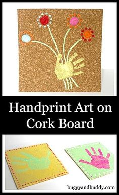 Handprint Art on Cork Board Craft for Kids: Makes a great homemade gift, especially for Mother's Day!
