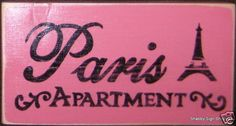 PARIS APARTMENT Chic Sign Plaque Wall Decor Wood Pink French Decor Eiffel Tower #ShabbySignShoppe #FrenchChic #WallDecor