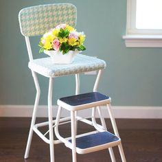 vintage 60 s step stool gets a makeover, painted furniture, reupholster Refurbished Furniture, Repurposed Furniture, Shabby Chic Furniture, Vintage High Chairs, Vintage Stool, Kitchen Step Stool, Kitchen Stools, Step Stools, Bar Stools