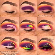 Easy And Attractive Eye Makeup For Beginners Makeup Eye Looks, Eye Makeup Steps, Beautiful Eye Makeup, Rainbow Makeup, Colorful Eye Makeup, Eyeshadow Makeup, Makeup Art, Makeup Pictorial, Rave Makeup