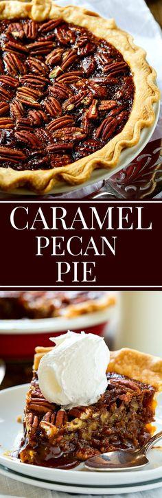 This Salted Caramel Pecan Pie from Paula Deen has a deep caramel flavor.