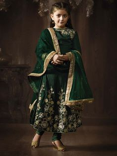 Buy Bewitching Bottle Green Kids Salwar Kameez,Salwar Kameez is Designed With Embroidery and Stone Work Work,Top Fabric: Raw Silk,Bottom Fabric: - 100558 Indian Dresses For Girls, Pakistani Kids Dresses, Pakistani Dress Design, Little Girl Dresses, Girls Dresses, Eid Dresses, Kids Salwar Kameez, Shalwar Kameez, Kurti