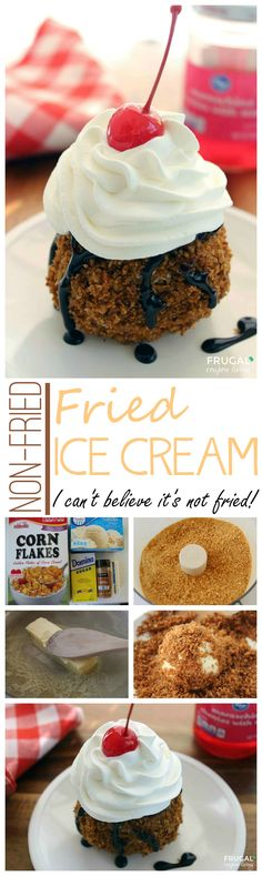 Non-Fried Fried Ice Cream Recipe - easy to make fried ice cream recipe that isn't fried. Even the kids can help with this ice cream recipe! by claudette Ice Cream Desserts, Frozen Desserts, Just Desserts, Delicious Desserts, Yummy Food, Frozen Treats, Easy Ice Cream Recipe, Homemade Ice Cream, Ice Cream Recipes