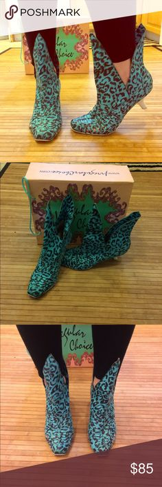 Irregular Choice turquoise leopard heels ICL Worn out once, circa 2006. Turquoise, woven, leopard print, kitten heels! Super stylish. Size US 9. Good condition, RARE! Irregular Choice Shoes Ankle Boots & Booties