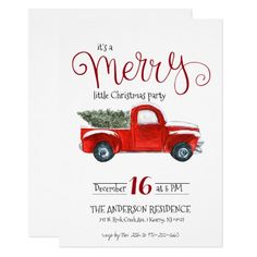 Vintage Red Truck Christmas Invitation Christmas Tea Party, Christmas Gift Exchange, Merry Little Christmas, Christmas And New Year, Christmas Themes, Christmas Holiday, Christmas Cards, Holiday Cards, Vintage Christmas