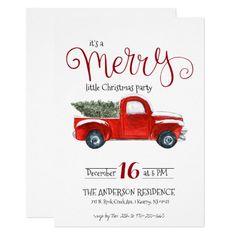 Vintage Red Truck Christmas Invitation Christmas Tea Party, Christmas Gift Exchange, Merry Little Christmas, Christmas Themes, Holiday Parties, Holiday Cards, Christmas Holiday, Christmas Cards, Vintage Christmas