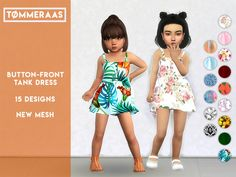 The Sims 4 Button-Front Tank Dress Toddler Cc Sims 4, Sims 4 Toddler Clothes, Sims 4 Cc Kids Clothing, Sims 4 Mods Clothes, Toddler Girl Outfits, Kids Outfits, Children Clothing, Toddler Fashion, Toddler Girls