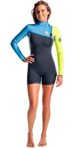 399f9cc127 2016 Rip Curl Ladies G-Bomb 2mm Long Sleeve Zip Free Shorty BLUE WSP5IW  Swimwear
