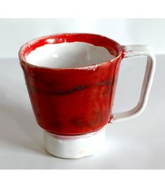 Red and white mug.
