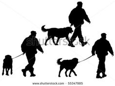 Vector image of police man with a dog on a leash by grynold, via ShutterStock