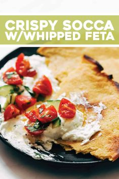 Socca with Whipped Feta and Tomato Salad! HELLO. Crispy, creamy, tangy, and summery all on one plate. Perfect healthy lunch. #socca #glutenfree #lunch Appetizer Recipes, Snack Recipes, Cooking Recipes, Fancy Appetizers, Chicken Appetizers, Healthy Snacks, Healthy Recipes, Easy Recipes, Weeknight Recipes
