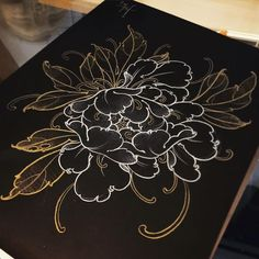 White and golden On black paper , drawing at Tattoo Experience Pastel Decor, Japanese Peony Tattoo, Japanese Tattoo Symbols, Japanese Tattoo Designs, Japanese Sleeve Tattoos, Japanese Flowers, Japanese Art, Peony Flower Tattoos, Peonies Tattoo, Flower Tattoo Designs