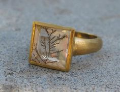 Dendrite Quartz: Silver Tree of Life Ring Sacred Tree Ring Spiritual by Belesas