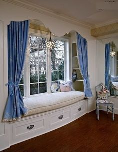 traditional-bedroom french style blue curtains wood work better decorating bible interior design window seat how to Girl Room, Girls Bedroom, Bedroom Decor, Master Bedroom, Bedroom Ideas, Bedroom Nook, Master Bathrooms, Master Closet, Child's Room