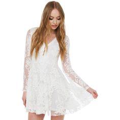 Lace Deep V White Skater Dress ($55) ❤ liked on Polyvore