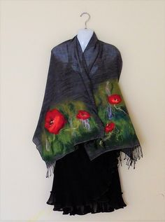 Grey shawl with poppies, red flower scarf, wearable art, spring picture, floral wrap,Valentine's day gift idea, for her,summer trends, rayon