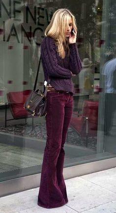LOVE the flare, corduroy, and tone on tone! Winter Chic: 40 Stellar Street Style Outfits to Copy Now Fashion Week, Look Fashion, Street Fashion, Fall Fashion, Trendy Fashion, Sporty Fashion, Net Fashion, Classic Fashion, Fashion 2017