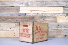 Vintage Wood Crate, AA Bottling Company Crate, Chicago Crate, Wooden Box