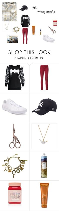 """""""02. Work Outfit"""" by gilan-4-shizzle on Polyvore featuring J Brand, Converse, New Era, Q&Q, Lime Crime and Lancôme"""