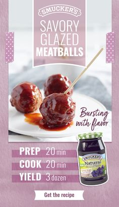Savory Glazed Meatballs Looking for the perfect holiday appetizer? Try Savory Glazed Meatballs made with Smucker's Natural Concord Grape Fruit Spread. Tap the Pin to get the recipe. Easter Appetizers, Appetizer Recipes, Crockpot Recipes, Cooking Recipes, Yummy Food, Tasty, Albondigas, Snacks, Love Food