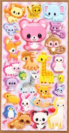colourful animal sponge stickers bear giraffe elephant