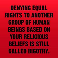 Denying equal rights to another group of human beings based on your religious beliefs is still called bigotry. In fact, it's enormousotry. It Goes On, Human Rights, Women's Rights, In This World, Equality, Wise Words, Awakening, Wisdom, Feelings