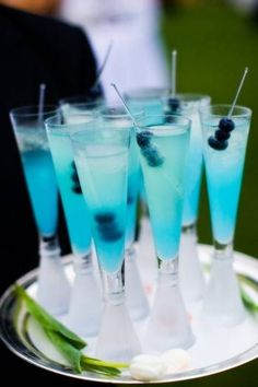 tiffany blue cocktail with blueberries