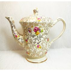 James Kent LTD, Pearl Delight, Vintage Teapot, Fenton Granville, Gold... (€110) via Polyvore featuring home, kitchen & dining, teapots, vintage tea pots, gold tea pot, floral teapot, gold teapot and fenton